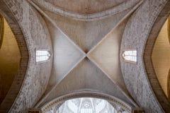 The Holy Chalice Chapel in Valencia. Low angle view of the ceiling of the The Holy Chalice Chapel (La Capilla del Santo Cáliz) in Valencia, Spain royalty free stock image