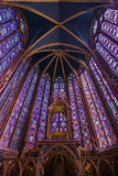 Holy Chapel Paris. Beautiful interior of the Sainte-Chapelle (Holy Chapel), a royal medieval Gothic chapel in Paris, France, on April 10, 2014 Stock Photos