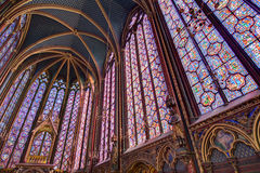 Holy Chapel Paris. Beautiful stained glass of the Sainte-Chapelle (Holy Chapel), a royal medieval Gothic chapel in Paris, France, on April 10, 2014 Stock Image