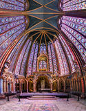 Holy Chapel wide angle. Beautiful stained glass of the Sainte-Chapelle (Holy Chapel), a royal medieval Gothic chapel in Paris, France, on April 10, 2014 Royalty Free Stock Photo