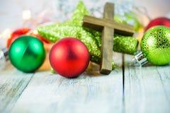 Holy Christian Cross and Christmas Holiday Theme Background. A holy Christian cross and Christmas holiday theme background Royalty Free Stock Image