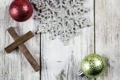 Holy Christian Cross and Christmas Holiday Theme Background. A holy Christian cross and Christmas holiday theme background Royalty Free Stock Photos