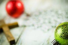 Holy Christian Cross and Christmas Holiday Theme Background. A holy Christian cross and Christmas holiday theme background Stock Photography