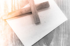 Holy Christian Cross and Note Card Royalty Free Stock Image