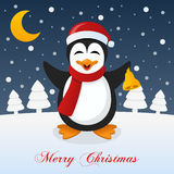 Holy Christmas Night with a Cute Penguin Stock Image