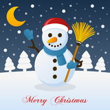 Holy Christmas Night with a Cute Snowman Stock Images
