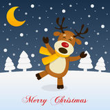 Holy Christmas Night with a Happy Reindeer Royalty Free Stock Images