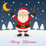 Holy Christmas Night with Santa Claus. A merry Christmas greeting card with the trees, the moon and a happy Santa Claus smiling as a orchestra leader in a snowy Royalty Free Stock Photography