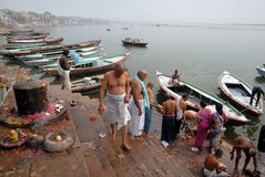 Holy City In India. Benaras, is considered as the cultural capital of the oldest and holiest cities in India and home to the most famous ghats (steps leading royalty free stock photography