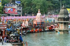 Holy city in India. HARIDWAR, INDIA - 11 NOVEMBER 2009: Ghat in the holy city in India during religious ceremonies Royalty Free Stock Photo