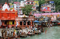 Holy city in India. HARIDWAR, INDIA - 11 NOVEMBER 2009: Ghat in the holy city in India during religious ceremonies Stock Photo