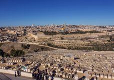 Temple Mount holy city Jerusalem view from the Oelberg on Old To Stock Photo