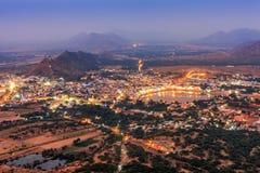 Holy city of Pushkar at night, Rajasthan, India Stock Photo