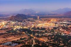 Holy city of Pushkar at night, Rajasthan, India Royalty Free Stock Image