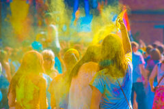 Holy color festive in Saint-Petersburg. Indian Holy color festive in Saint-Petersburg Stock Images