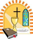 Holy communion. Illustration of a set of things related to the holy communion Stock Image