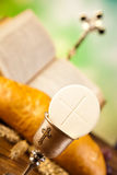 Holy Communion Bread, Wine Stock Images