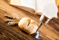 Holy Communion Bread, Wine Royalty Free Stock Images