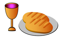 Holy Communion. Communion - Bread, wine and chalice on white background Stock Images
