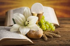 Holy Communion Bread, Wine for christianity religion. Eucharist, sacrament of communion background stock photography