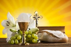 Holy Communion Bread, Wine for christianity religion. Eucharist, sacrament of communion background royalty free stock image