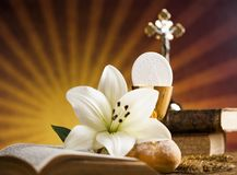 Holy Communion Bread, Wine for christianity religion. Eucharist, sacrament of communion background royalty free stock images