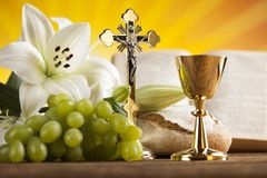 Holy Communion Bread, Wine for christianity religion. Eucharist, sacrament of communion background stock photos