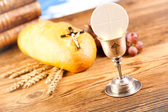 Holy Communion Bread, Wine Royalty Free Stock Image