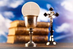 Holy of communion, bright background, saturated concept Stock Photo
