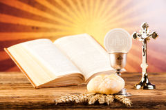 Holy of communion, bright background, saturated concept.  stock photography