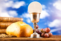 Holy of communion, bright background, saturated concept Stock Photos