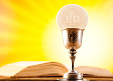 Holy of communion, bright background, saturated concept Stock Image