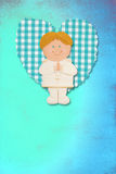 Holy Communion Card,blonde boy. First Holy Communion Invitation Card, cute blonde boy on blue background Royalty Free Stock Photography