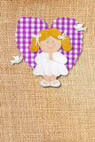 Holy Communion Card,rustic,blond girl Stock Photography