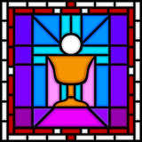 Holy Communion Chalice. Illustration of a part of a Stained Glass window with a Chalice and a Host. Useful also as Easter greeting card. You can find other vector illustration
