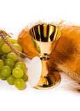 Holy communion. Chalice composition isolated on white royalty free stock images