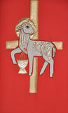 Holy Communion. Church flag with Holy Communion Symbol: sheep and cross Stock Photo