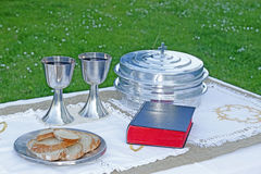 Holy communion elements table Stock Photography