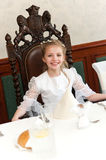 Holy communion girl portrait Stock Photo