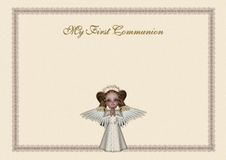 Holy Communion invitation. An elegant cream first communion invitation, with a lace frame, a glittering gold writing and a beautiful and delicate red-hair angel Royalty Free Stock Image
