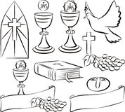 Holy communion - vector symbols. Vector outlines of my first holy communion Royalty Free Stock Images