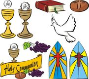 Holy communion - vector symbols. Vector set of first holy communion equipment Royalty Free Stock Photography