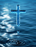 Holy Cross. The Holy Cross of Jesus of water ripple - religious metaphor Royalty Free Stock Photography