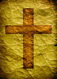 Holy cross. With old yellow paper 2D computer art Stock Photo