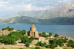 Holy Cross. The Armenian Cathedral Church of the Holy Cross in Akdamar Island in Van Lake, Turkey royalty free stock photos