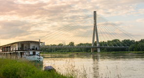 Holy Cross Bridge over Vistula river in Warsaw Royalty Free Stock Photo