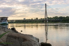 Holy Cross Bridge over Vistula river in Warsaw Poland Royalty Free Stock Photo