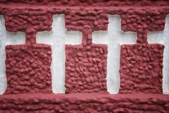 Holy cross carved on wall. With red color Royalty Free Stock Photography