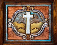Holy Cross Carved in Wood Stock Photos