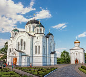 Holy Cross Cathedral. Church of the Transfiguration.  Polotsk. Stitched Panorama of Holy Cross Cathedral. Church of the Transfiguration. Polotsk. Belarus Stock Image